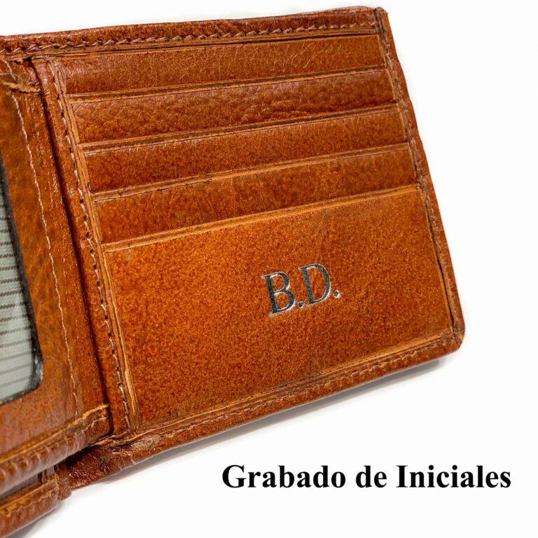 Billeteras de Cuero Personalizadas Hombre Grabado de Iniciales