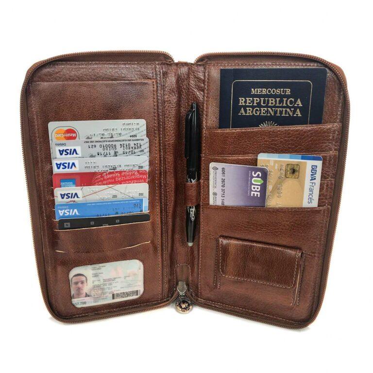 Porta Pasaporte Viaje Cuero Organizador