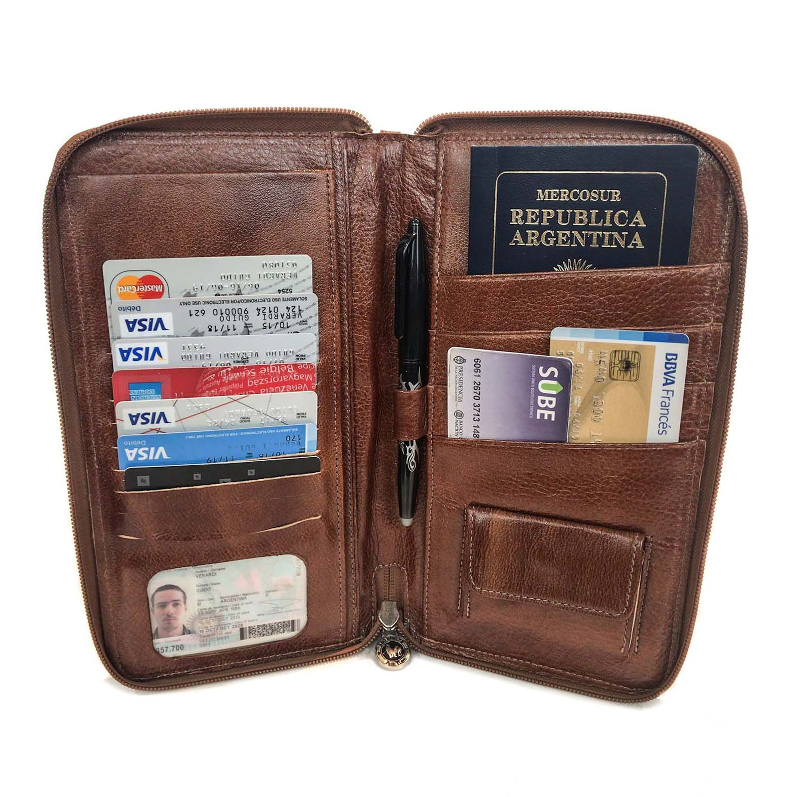 Porta Pasaporte Organizador Documentos Cuero Fabricantes