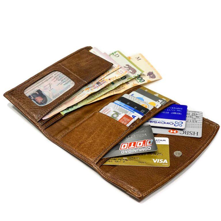 Billeteras de Mujer Cuero Porta Documentos Monedero